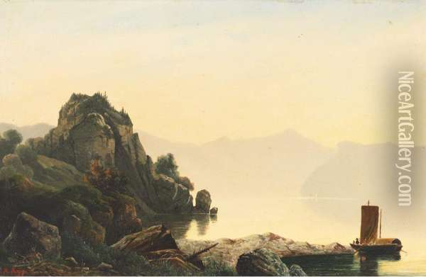 Misty Lake Scene With Boaters, North Italy Oil Painting - Johann Rudolf Rapp