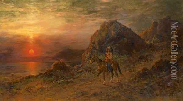 Indian Chief At Sunset Oil Painting - Henry Raschen