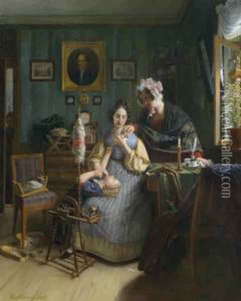 Eavesdropping On The Spinstress Oil Painting - George Friedrich Reichmann