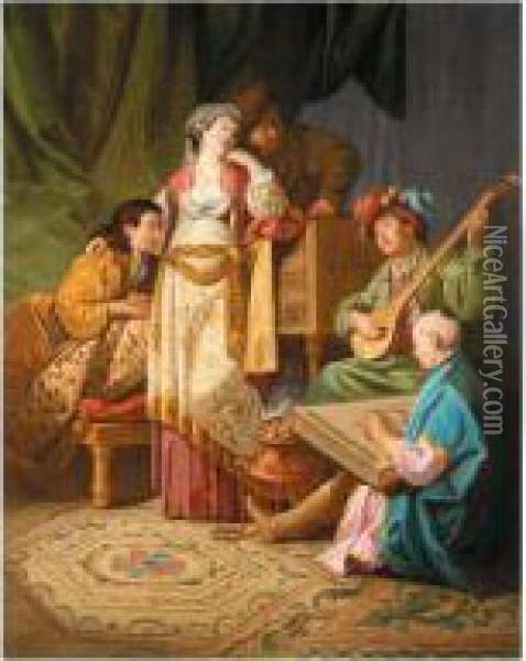 A Musical Concert, With Figures In Oriental Dress Oil Painting - Antoine Renou