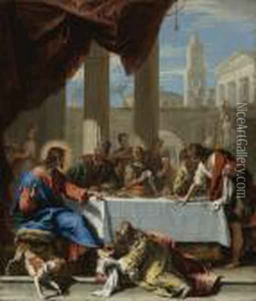 Christ In The House Of Simon Oil Painting - Sebastiano Ricci