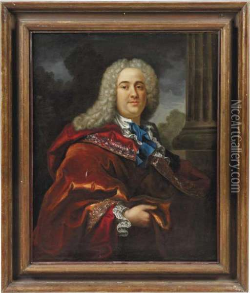 Portrait Of A Gentleman Oil Painting - Hyacinthe Rigaud