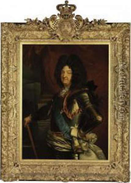 Portrait Of Louis Xiv Oil Painting - Hyacinthe Rigaud