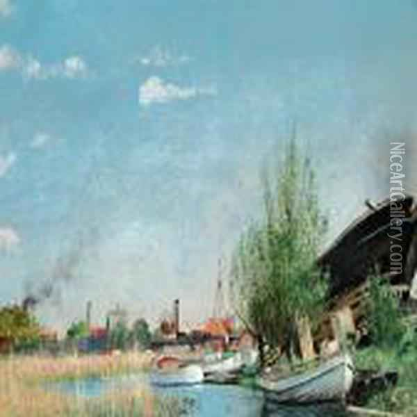 Summer Day At K ge (k ge Stream) Oil Painting - L.A. Ring