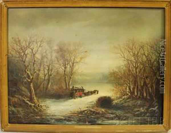 Winter Landscape With A Mail Coach Oil Painting - Paul I Ritter