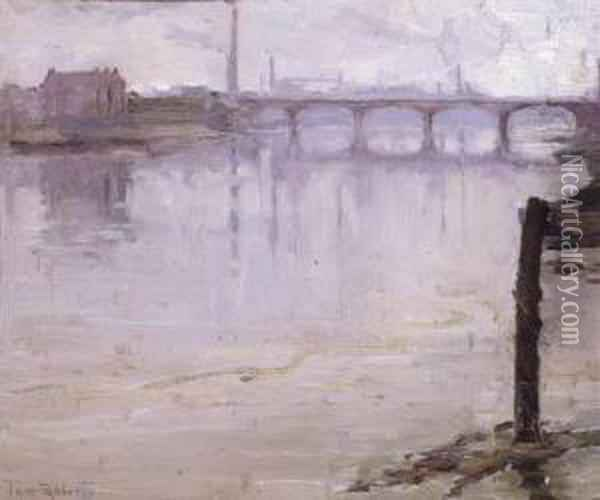 The Thames Near Battersea Oil Painting - Thomas William Roberts