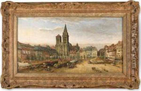 The Cathedral Of St. Pierre And Market Place, Lisieux, Calvados, France Oil Painting - James Robertson Collie