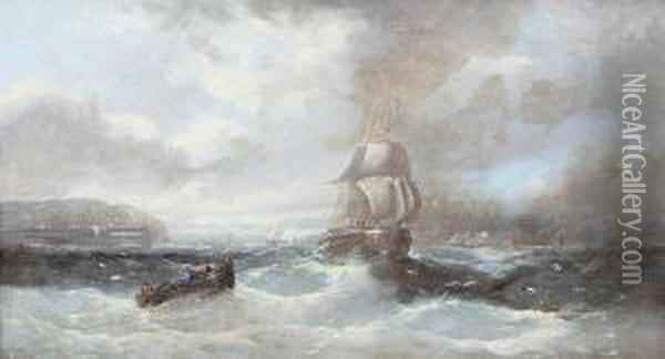 Ships Off The Coast Under Stormy Skies Oil Painting - A. Robins