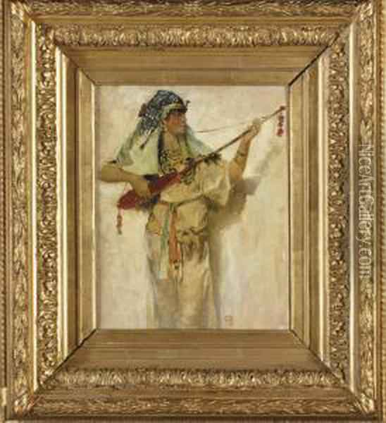 Musicienne Egyptienne Jouant Du Luth Oil Painting - Georges Antoine Rochegrosse