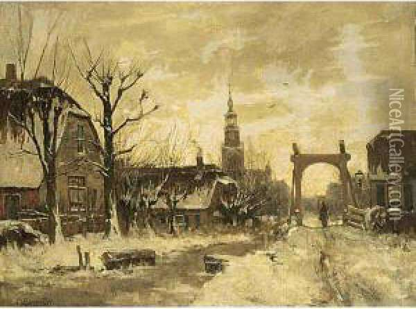 View Of Nieuwkoop In Winter; Together With A Work By Anne Franciscus Hartman Oil Painting - Gerardus Johannes Roermeester