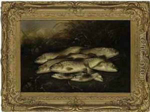 Trout And Grayling Caught At Salisbury Oil Painting - Henry Leonidas Rolfe