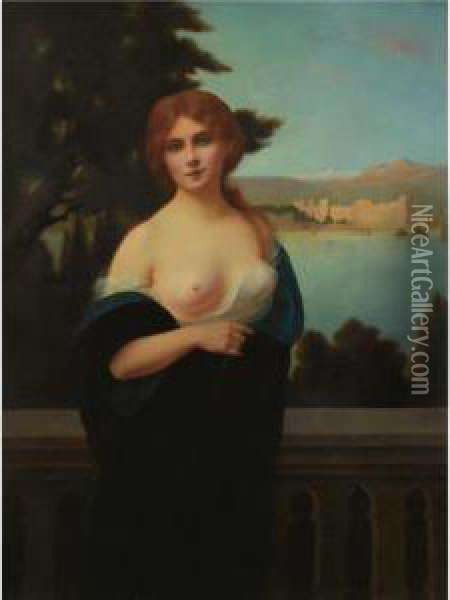 Young Woman In A Landscape Oil Painting - H. Rondel