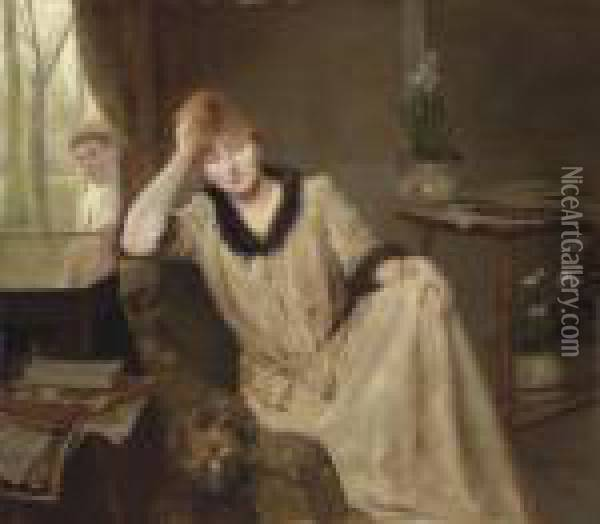 Portrait Of A Woman In An Elegant Interior Oil Painting - H. Rondel