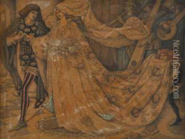 Figures At Court Oil Painting - Dante Gabriel Rossetti