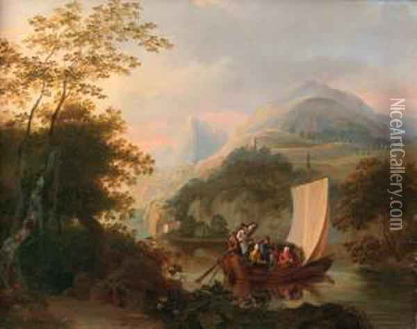 The Ferry Oil Painting - Johannes Rost