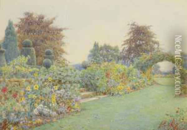 Under The Terrace, Brome Hall Oil Painting - Ernest Arthur Rowe