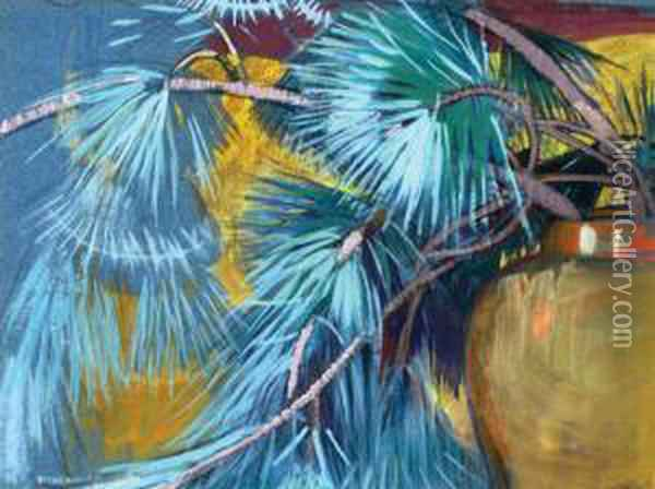 Untiled (still Life With Fir Branches) Oil Painting - Mabel A. Royds