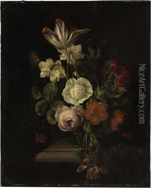 A Rose, Tulip, Carnation, Poppy And Other Flowers In A Vase On A Ledge, With A Butterfly Oil Painting - Rachel Ruysch