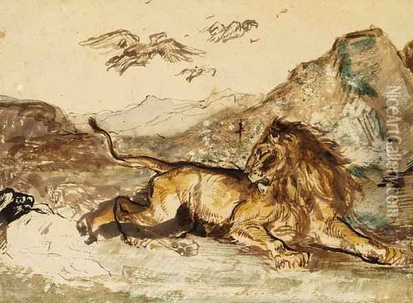 Charles Edme Saint-marcel-cabin: A Lion Laying In The Mountains Oil Painting - Charles Edme Saint-Marcel-Cabin
