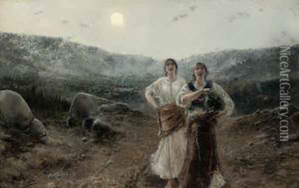 A Song Under The Moon Oil Painting - Agustin Salinas Y Teruel