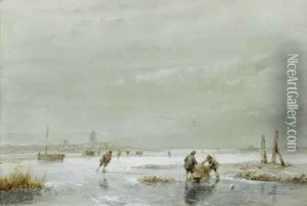 A Winter Landscape With Skaters Oil Painting - Andreas Schelfhout