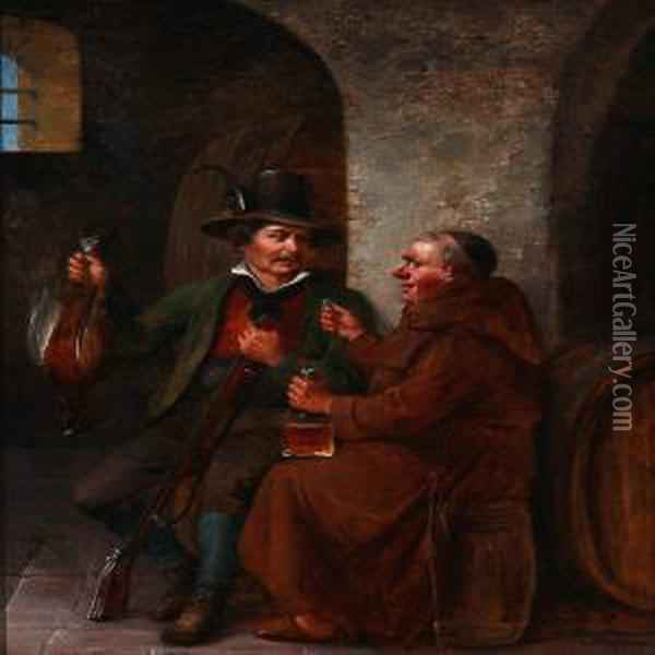 A Hunter And A Monk Makes A Deal Oil Painting - Christian Andreas Schleisner