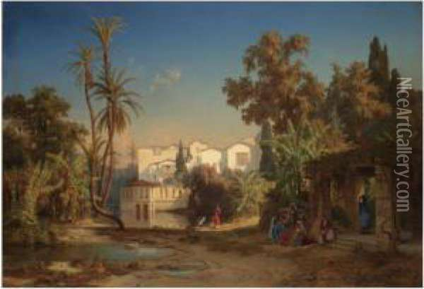 Noon Day Rest In The Oasis Oil Painting - Max Schmidt