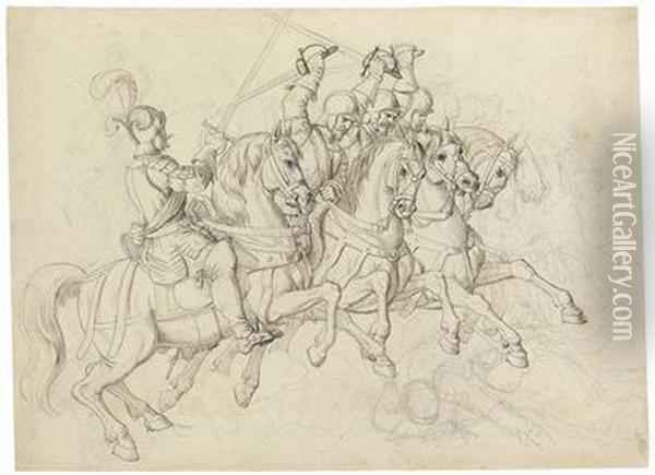 A Battle Scene With Riders Oil Painting - Julius Schnorr Von Carolsfeld