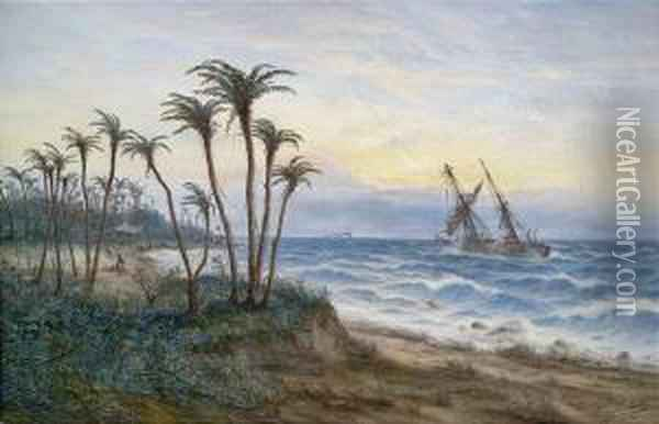 African Coastal Landscape With A Two-master Oil Painting - Max Schroder-Greifswald