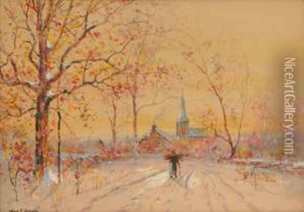 Late Autumn Evening With Figure And View Of Countryvillage Oil Painting - George F. Schultz