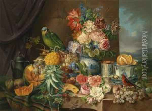 Large Still Life With Fruit Oil Painting - Josef Schuster