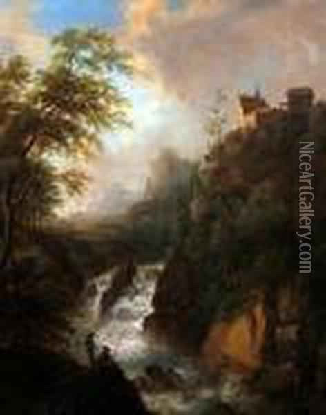 Mountain River Landscape With Anglers On A Rocky Outcrop Oil Painting - Christian Georg Schuttz II