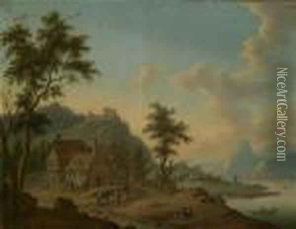 River Landscape With A Fortress And Figuralstaffage Oil Painting - Christian Georg Schuttz II