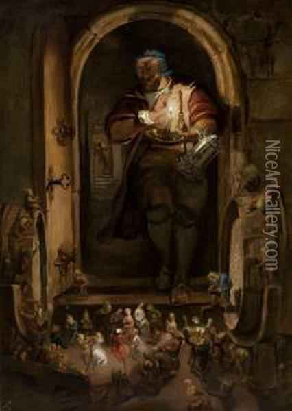 The Butler's Surprise On All Hallows Eve Oil Painting - William Bell Scott