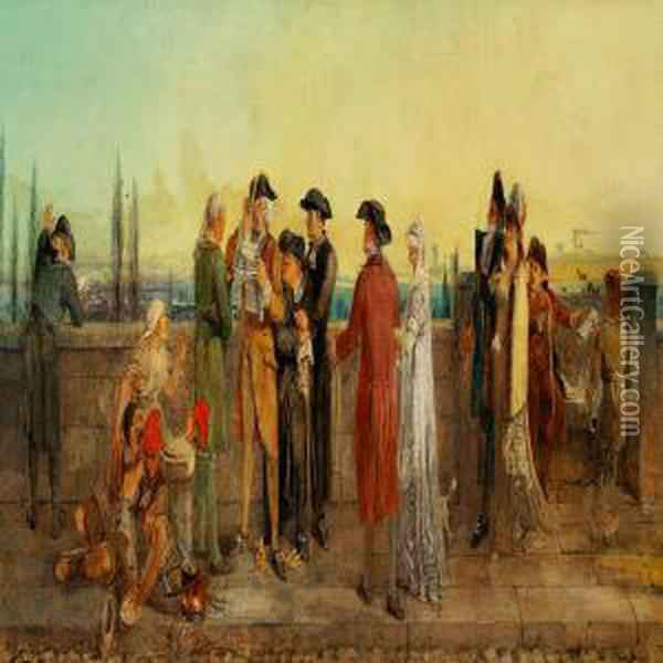 News From Paris - Death Of The King Oil Painting - William Bell Scott