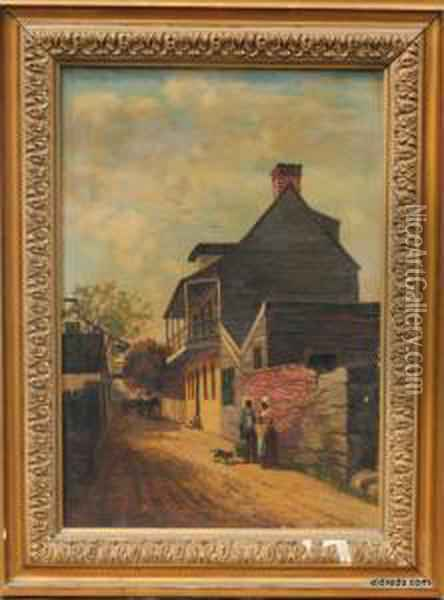 Old House In Charlotte Street St. Augustine Florida Oil Painting - Frank Henry Shapleigh