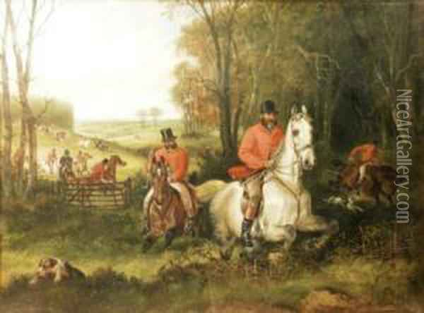 A Hunt Leading Into A Wood Oil Painting - Charles Waller Shayer