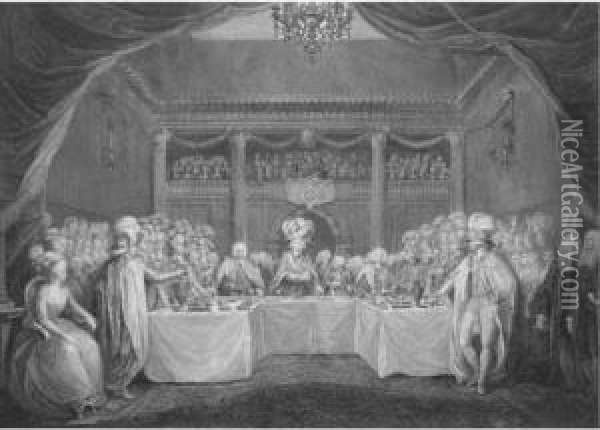 The Installation Banquet Of The Knights Of St Patrick In The Great Hall, Dublin Castle, 17th March 1783 Oil Painting - John Keyse Sherwin