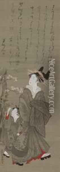 Courtesan And Attendant Walking Beneath Cherry Blossoms Oil Painting - Kubo Shunman