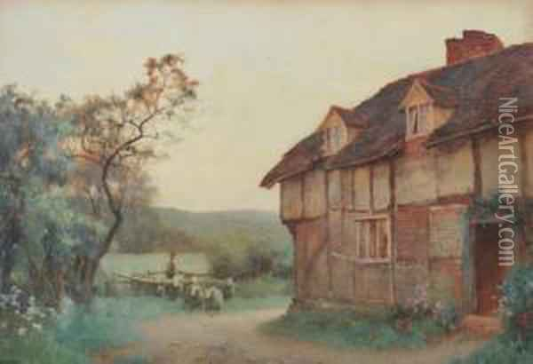 Country Homestead With Sheepfold Oil Painting - Benjamin D. Sigmund