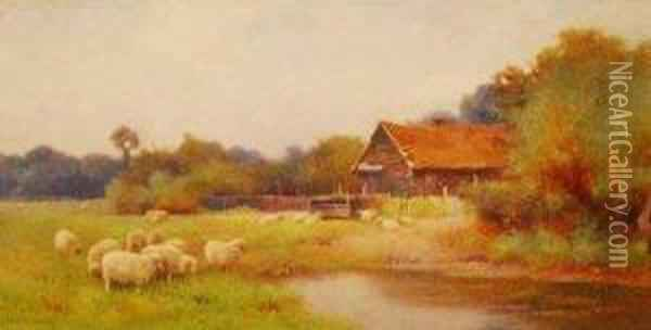 Sheep Grazing Near A Pool Oil Painting - Benjamin D. Sigmund