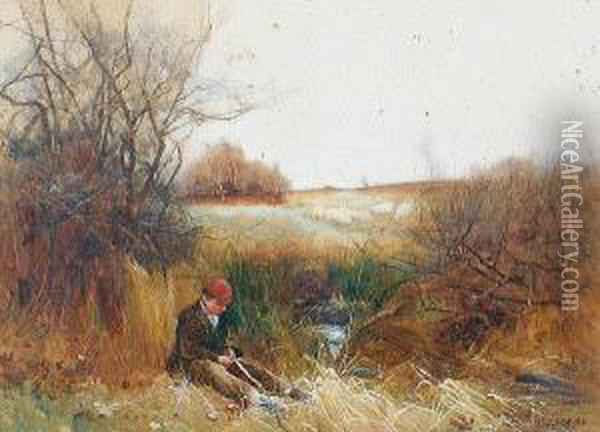 A Boy Cutting Reeds By A Stream Oil Painting - Benjamin D. Sigmund