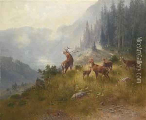 Stag With His Pack In The High Mountains Oil Painting - Ludwig Skell