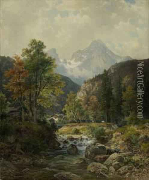 Bei Berchtesgaden. Oil Painting - Ludwig Skell