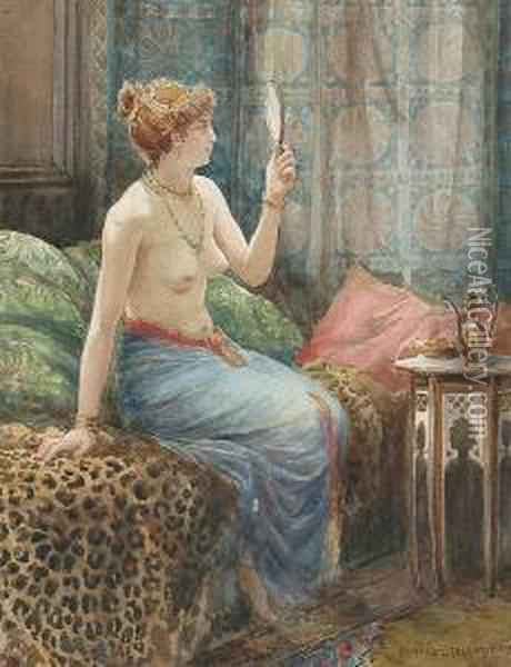 A Lady In A Richly Decorated Interior Oil Painting - Edward Slocombe